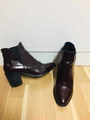Pieces Stivale a gamba corta marrone-rosso-bordeaux Pelle