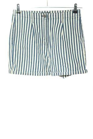 Pieces High-Waist-Shorts blau-weiß Streifenmuster Casual-Look