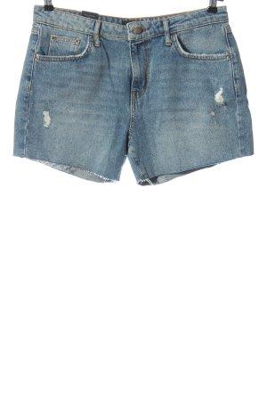 Pieces Pantalón corto de tela vaquera azul look casual