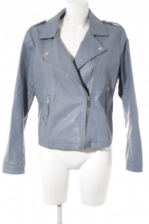 Pieces Kunstlederjacke graublau Casual-Look