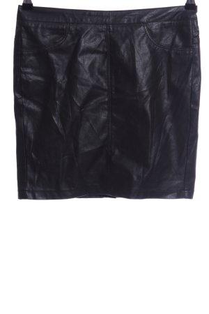 Pieces Kunstlederrock schwarz Glanz-Optik