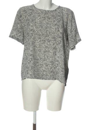 Pieces Kurzarm-Bluse weiß-schwarz Allover-Druck Casual-Look