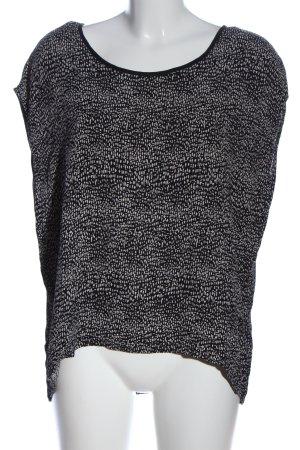 Pieces Kurzarm-Bluse weiß-schwarz abstraktes Muster Casual-Look
