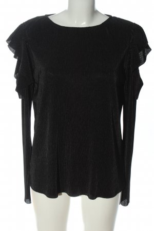 Pieces Langarm-Bluse schwarz Streifenmuster Casual-Look