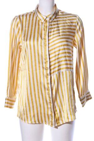 Pieces Langarm-Bluse goldfarben-weiß Streifenmuster Casual-Look