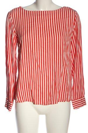 Pieces Blusa de manga larga rojo-blanco puro estampado a rayas look casual