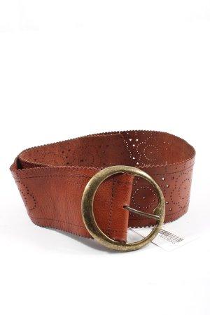 Pieces Skórzany pasek brązowy W stylu biznesowym