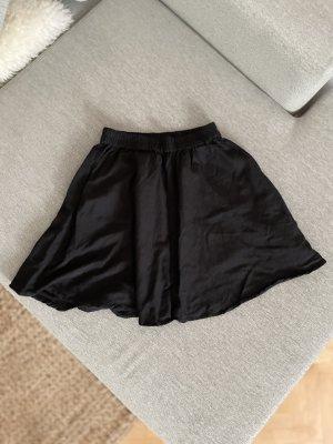 Pieces Falda de talle alto negro Lino