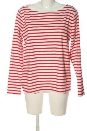 Pieces Longsleeve weiß-rot Streifenmuster Casual-Look