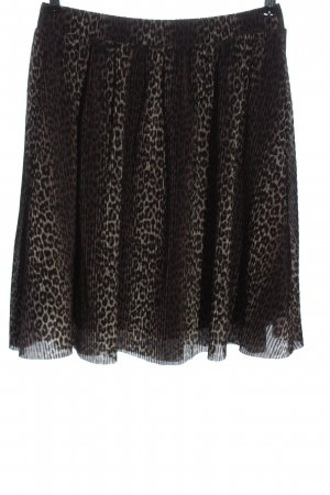 Pieces Falda plisada marrón-negro estampado de leopardo look casual