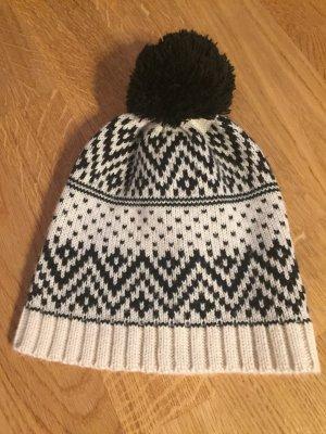 Pieces Sombrero de punto negro-blanco puro