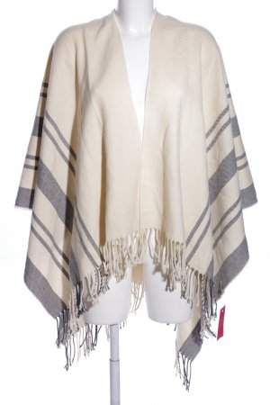 Pieces Poncho creme-hellgrau Streifenmuster Casual-Look