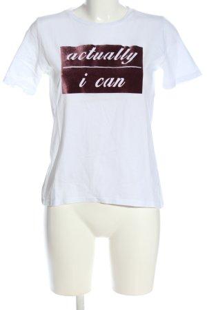 Pieces Print-Shirt weiß-rot Motivdruck Casual-Look