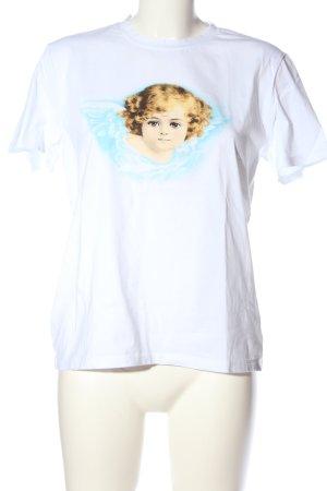 Pieces Print-Shirt weiß Motivdruck Casual-Look