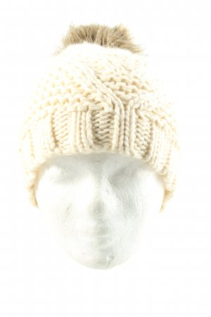 Pieces Bobble Hat natural white weave pattern casual look