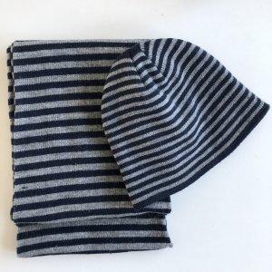 Pieces Ringel Mütze und Schal grau blau