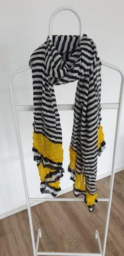 PIECES, Schal, weiß schwarz gelb