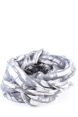 Pieces Écharpe tube gris clair-blanc imprimé allover style décontracté