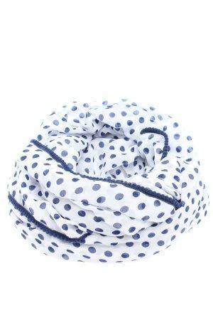 Pieces Tubesjaal wit-blauw gestippeld patroon casual uitstraling