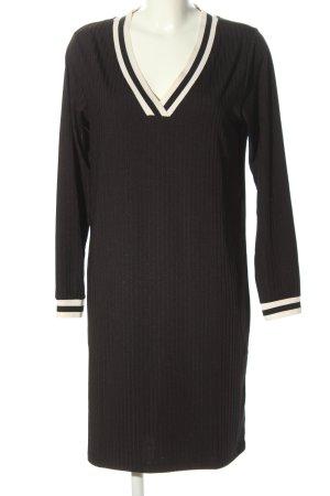 Pieces Robe en maille tricotées noir-blanc motif rayé style décontracté