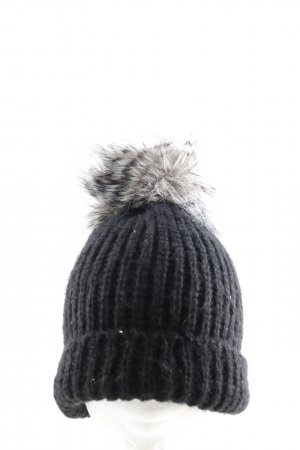 Pieces Knitted Hat black cable stitch casual look