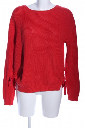 Pieces Strickpullover rot Streifenmuster Casual-Look