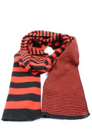 Pieces Bufanda de punto rojo-negro estampado a rayas look casual