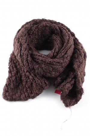Pieces Knitted Scarf brown cable stitch casual look