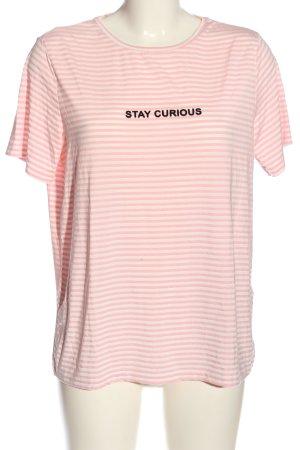 Pieces T-Shirt pink-weiß Schriftzug gedruckt Casual-Look