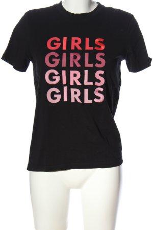 Pieces T-Shirt schwarz-pink Schriftzug gedruckt Casual-Look