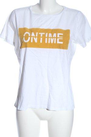 Pieces T-Shirt weiß-hellorange Schriftzug gedruckt Casual-Look