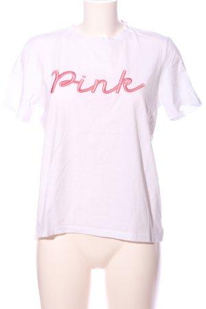 Pieces T-Shirt weiß Schriftzug gestickt Casual-Look