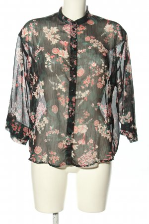 Pieces Transparenz-Bluse schwarz-pink Blumenmuster Casual-Look