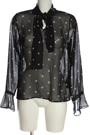 Pieces Transparenz-Bluse schwarz-weiß Punktemuster Elegant