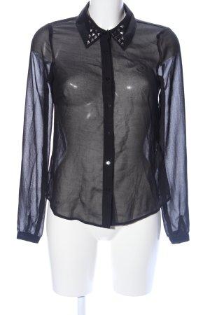 Pieces Transparenz-Bluse schwarz Elegant