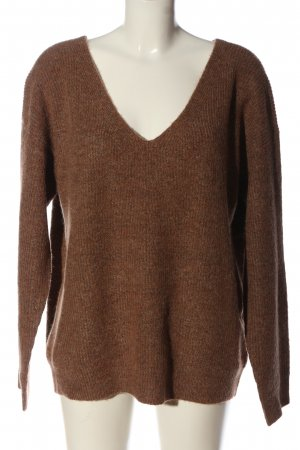 Pieces Jersey con cuello de pico marrón look casual