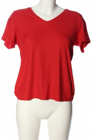 Pieces V-Ausschnitt-Shirt rot Casual-Look