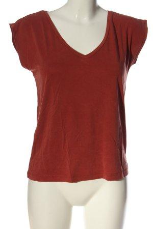 Pieces V-Ausschnitt-Shirt hellorange Casual-Look