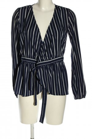 Pieces Wikkelblouse blauw-wolwit gestreept patroon casual uitstraling