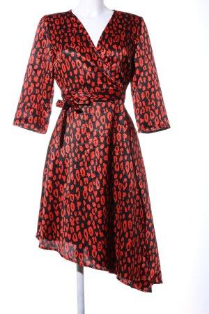 Pieces Wikkeljurk zwart-rood volledige print casual uitstraling