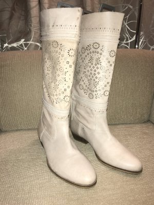 Pier one Slouch Boots natural white-cream leather