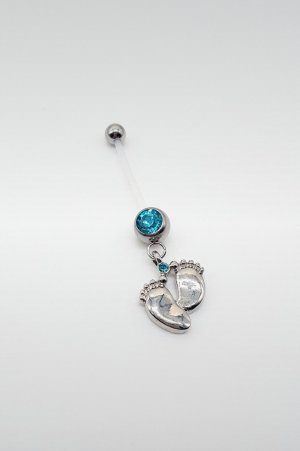 Charm silver-colored-light blue