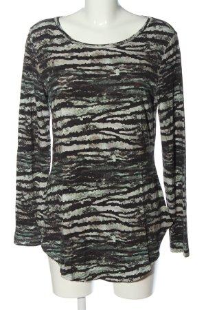 Qiero Longsleeve black-white abstract pattern casual look