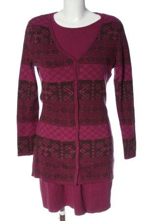Qiero Ensemble en tricot rose-brun motif graphique style décontracté