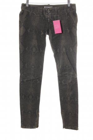 Pierre Balmain Skinny Jeans khaki-schwarz Animalmuster Animal-Look