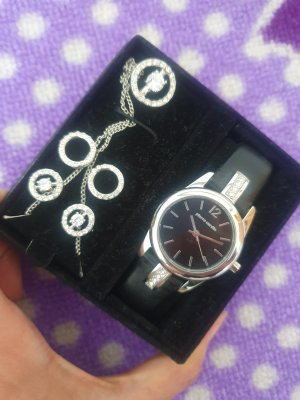 Pierre Cardin Schmuck Set Armbanduhr, schwarz, 2 x Ohrringe, Neu