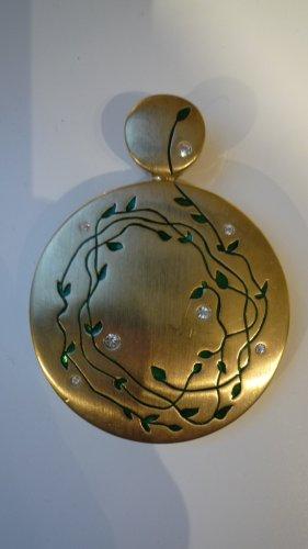 Pierre Lang Anhänger matt vergoldet Kristallsteine + grünes Emaille