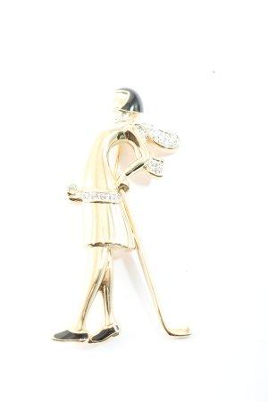 Pierre Lang Brosche goldfarben-schwarz Elegant