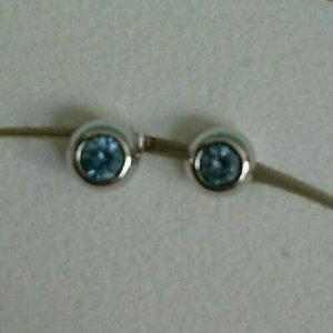 Pierre Lang glitzernde Ohrringe Ohrstecker Silber mit blauen Steinchen
