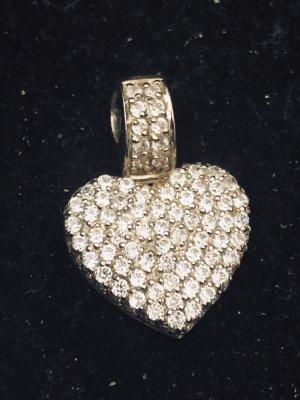 Pierre Lang Herz Diamant Kette Anhänger Straß 925 Silber